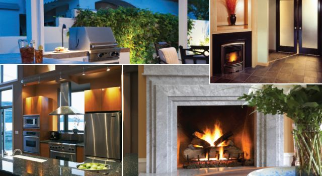 Modern kitchen | Outdoor living | Fireplace inside | Large fireplace